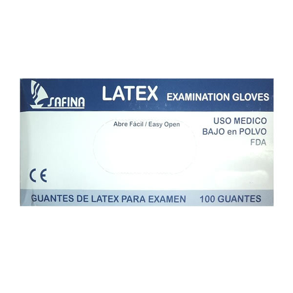 Dispensador guante de latex desechable bajo en polvo Safina